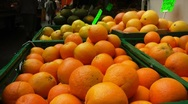 Oranges at a fruit stall Stock Footage