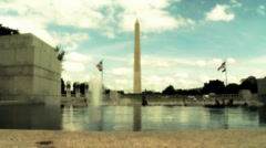 Washington Monument and World War 2 Menorial in Washington D.C. 2 Stock Footage