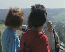 Tour group standing and talking Stock Footage