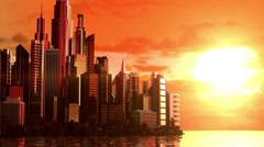 City at sunrise Stock Footage