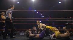 Pro wrestling match- Tag team moves - Dropkick HD - stock footage