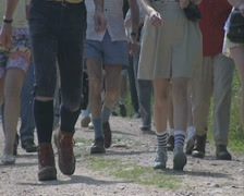 Ground level view of passing feet Stock Footage