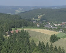 Panoramic of fields and town Stock Footage