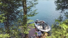 Canadian lake With Speedboat Quebec Canada Stock Footage