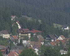 Panoramic of town and forest Stock Footage