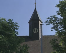Pan from church to Gasthof Stock Footage