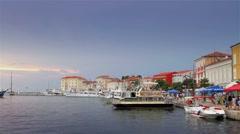 Dock in Croatia, houses by the sea Stock Footage