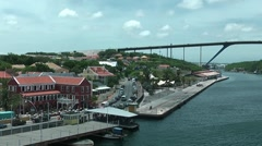 Curacao port and bridge, shot from cruise ship Stock Footage