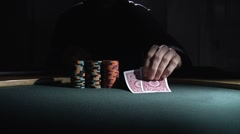 Poker Player Bets All In Stock Footage