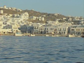 View of urban coast from approaching boat Stock Footage