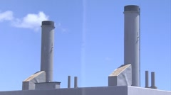 WS, smoke stacks of electrical plant building Stock Footage