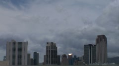 Stock Video Footage of WS waikiki, tall towers and clouds at dusk