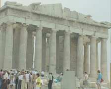 Zoom out from Parthenon to view between two pillars - stock footage