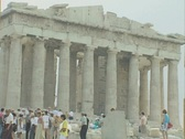 Stock Video Footage of Zoom out from Parthenon to view between two pillars
