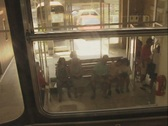 Stock Video Footage of Rear view from ascending carriage through window