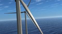 Wind Farm Stunt Flight. Animation. HD Stock Footage