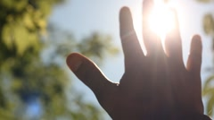 Sun's rays through fingers palm - stock footage