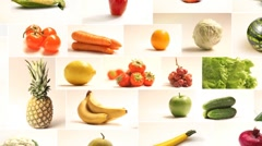 Table of fruits and vegetables Collage Stock Footage