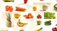 Stock Video Footage of Table of fruits and vegetables Collage