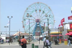 Coney Island Boardwalk with Wonder Wheel Stock Footage