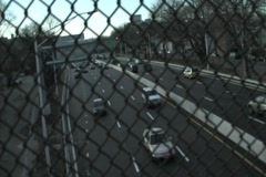 Highway with meshed fence - stock footage