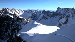 Stock Video Footage of Chamonix's Vallee Blanche off-piste run, Chamonix-Mont-Blanc, Chamonix, France
