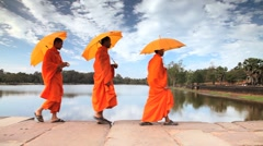 Stone causeway leading to the temple of Angkor Wat, Angkor, Siem Reap, Cambodia - stock footage