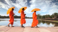 Stock Video Footage of Stone causeway leading to the temple of Angkor Wat, Angkor, Siem Reap, Cambodia
