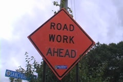 Road Work Ahead Stock Footage