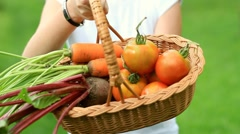 Female hands holding fresh vegetables in the basket, outdoors HD - stock footage