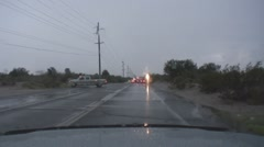 Police blockades during flash flooding in a monsoons storm - 3 Stock Footage