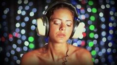 Super sexy female dj headphones vintage Stock Footage