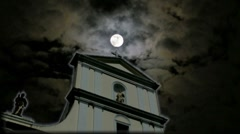Spooky Cathedral Church Tower Cross Scary Clouds Full Moon w glow Stock Footage