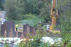 Construction Site by the Water Stock Footage