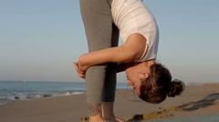 Yoga beach sunrise peaceful energy healthy lifestyle Stock Footage