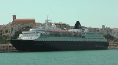 Cruise ship anchored in Mahon, Spain Stock Footage