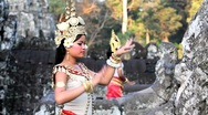 Stock Video Footage of Traditional Cambodian apsara dancers, temples of Angkor Wat, Siem Reap, Cambodia