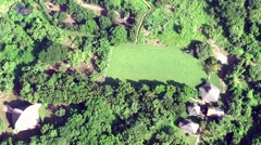 Field camp shot from airplane Stock Footage