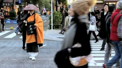 Japan, Honshu, Tokyo, Ginza, Shinto monk in traditional dress Stock Footage