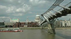 Millenium bridge, st pauls, london - stock footage