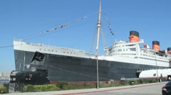 Queen Mary Ship in Long Beach - stock footage