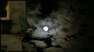 Spooky Church Tower Gargoyle Full Moon Scary Clouds Stock Footage