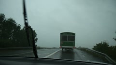 Driving on a rainy road Stock Footage