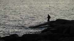 Angler silhouette Stock Footage