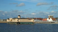Cold bath house in Varberg Stock Footage