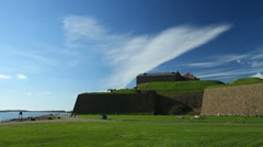 Varberg fortress, pan Stock Footage