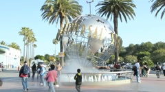 Universal Studios' rotating globe fountain Stock Footage