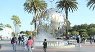 Stock Video Footage of Universal Studios' rotating globe fountain