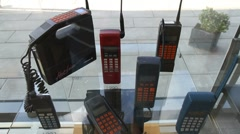 Old mobile phones, tilt - stock footage