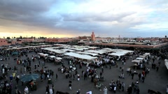 Elevated view over the Djemaa el-Fna, Marrakech, Morocco, North Africa Stock Footage